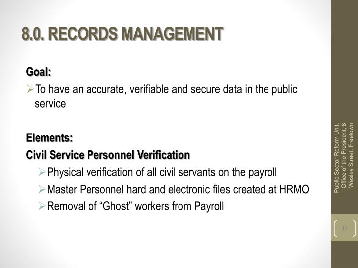 8.0. RECORDS MANAGEMENT