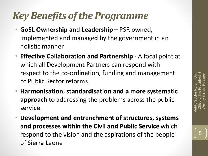 Key Benefits of the Programme