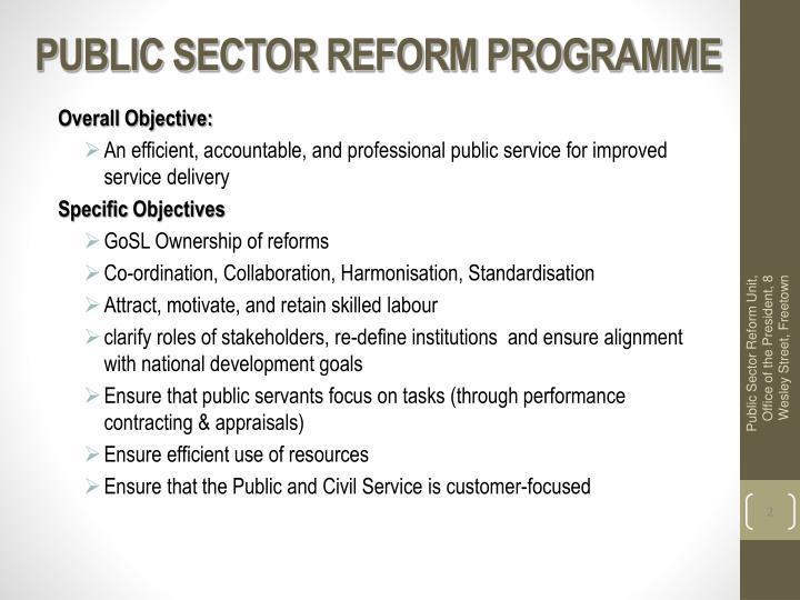 PUBLIC SECTOR REFORM PROGRAMME
