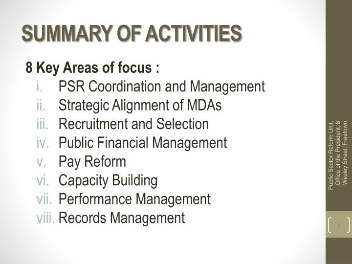 Summary of activities
