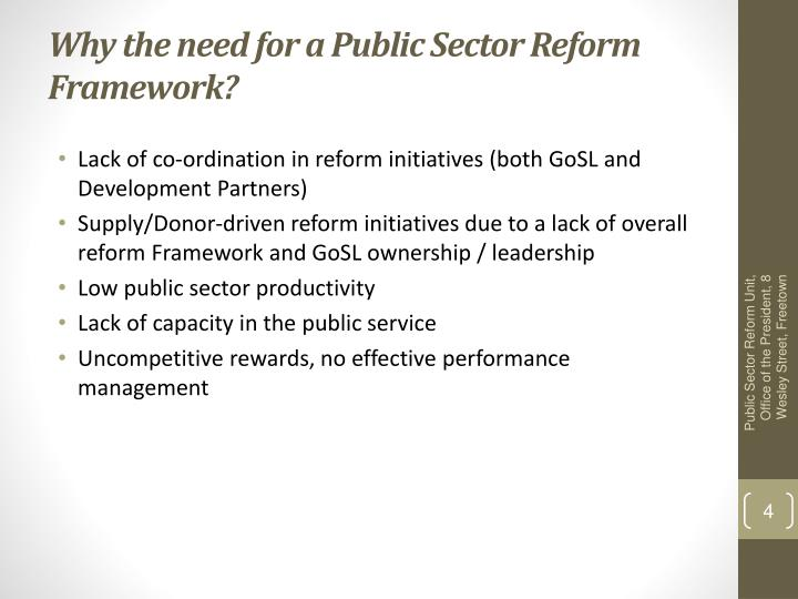 Why the need for a Public Sector Reform Framework?
