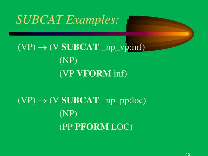 SUBCAT Examples: