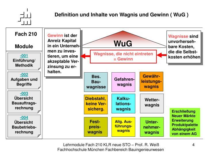 Definition und Inhalte von Wagnis und Gewinn ( WuG )