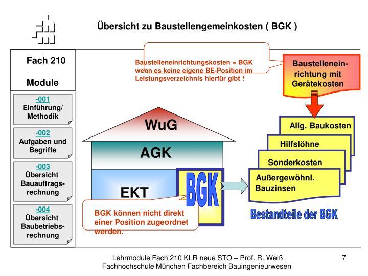 Übersicht zu Baustellengemeinkosten ( BGK )