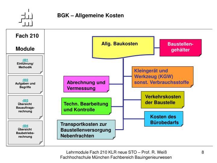 BGK – Allgemeine Kosten