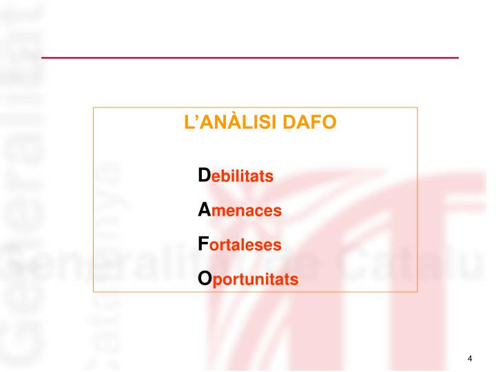 L'ANÀLISI DAFO