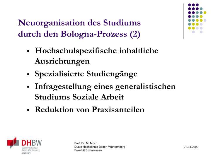 Neuorganisation des Studiums