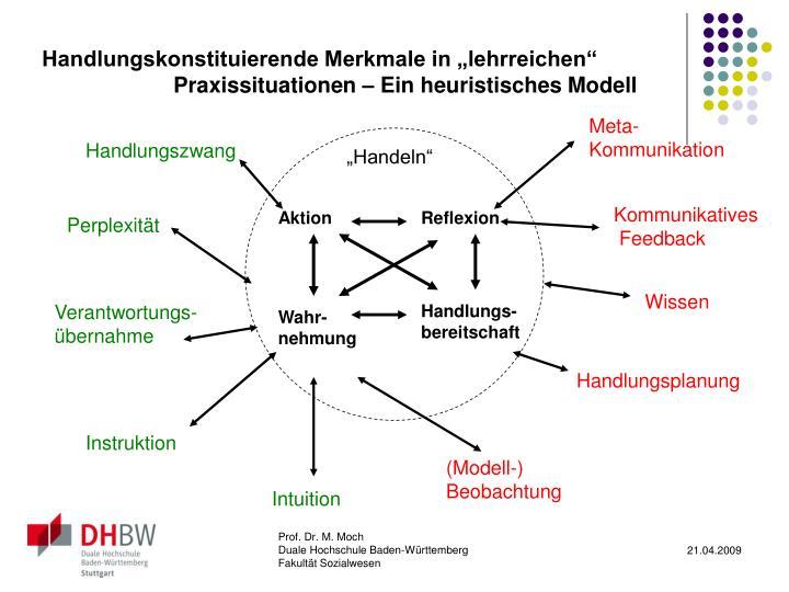 """Handlungskonstituierende Merkmale in """"lehrreichen"""" Praxissituationen – Ein heuristisches Modell"""