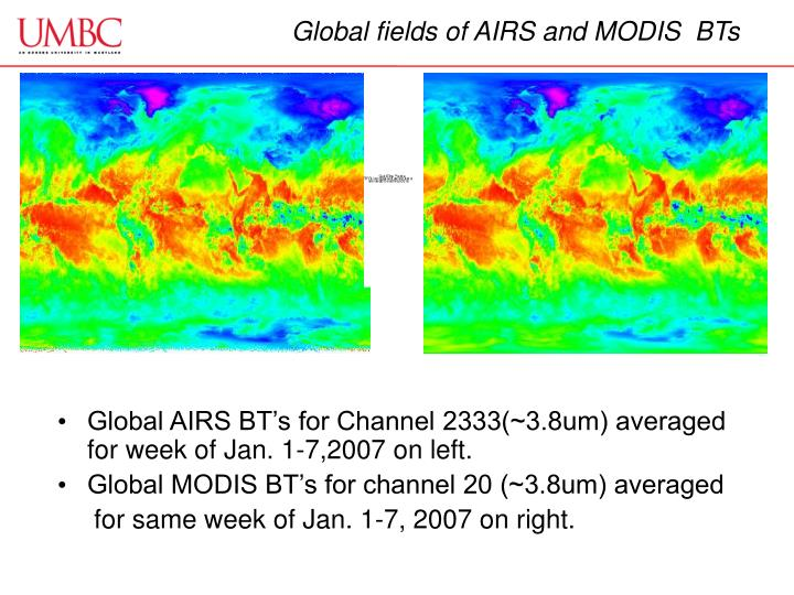 Global fields of AIRS and MODIS  BTs