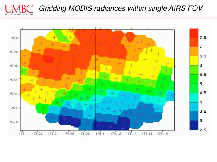 Gridding MODIS radiances within single AIRS FOV