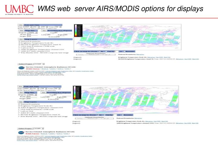 WMS web  server AIRS/MODIS options for displays