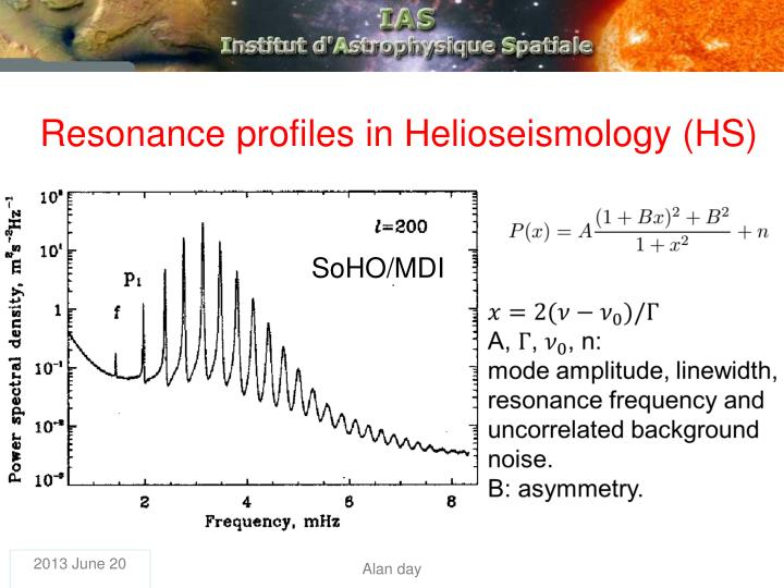 Resonance profiles in Helioseismology (HS)