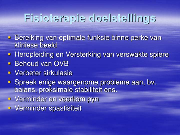 Fisioterapie doelstellings