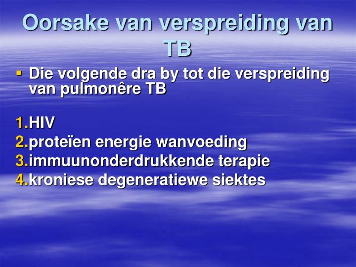 Oorsake van verspreiding van  TB