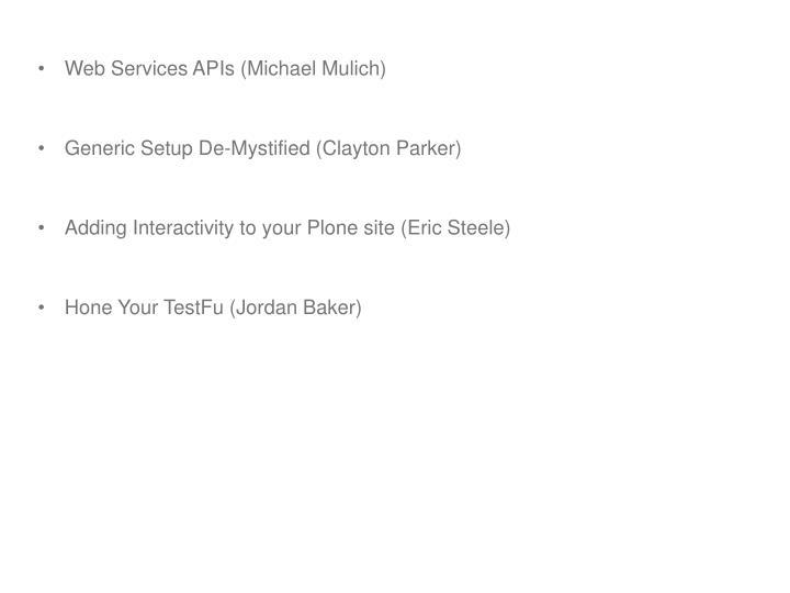 Web Services APIs (Michael Mulich)