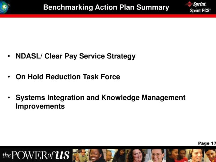 Benchmarking Action Plan Summary