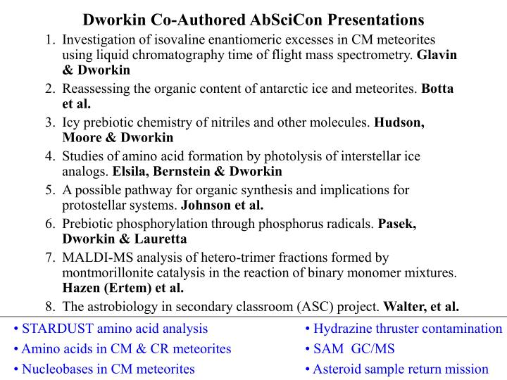 Dworkin Co-Authored AbSciCon Presentations