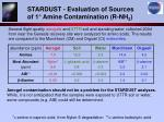 stardust evaluation of sources of 1 amine contamination r nh 2