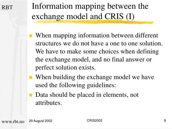 Information mapping between the exchange model and CRIS (I)