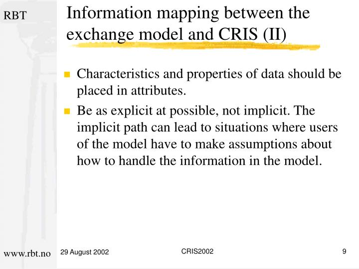 Information mapping between the exchange model and CRIS (II)