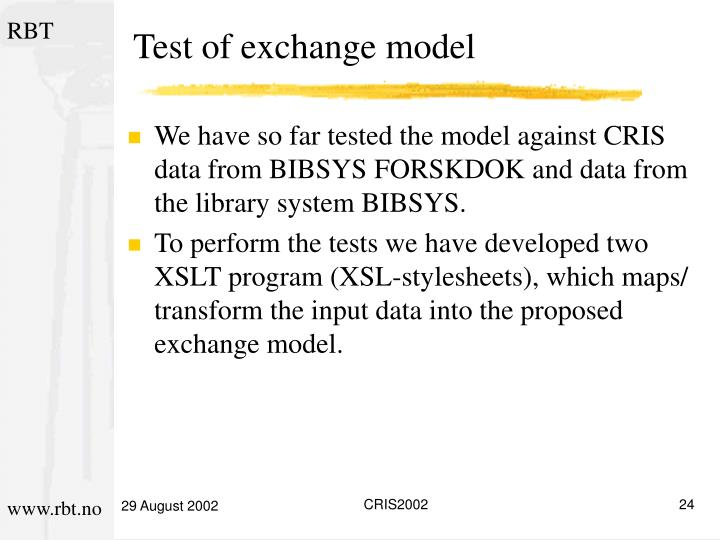 Test of exchange model