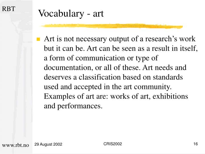 Vocabulary - art