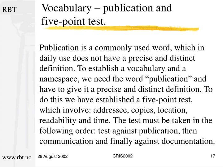 Vocabulary – publication and