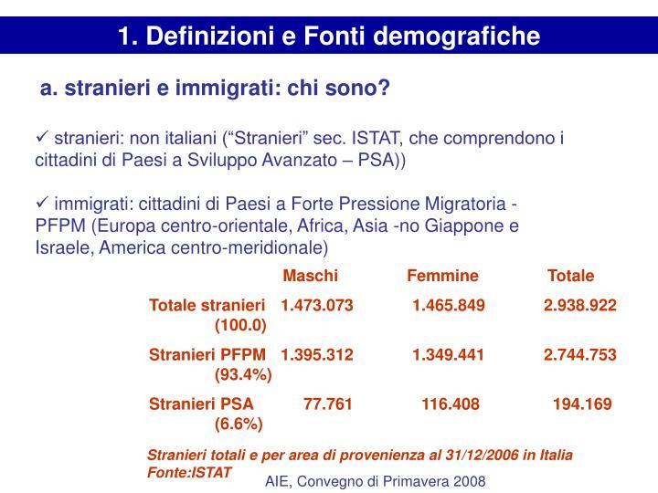 1. Definizioni e Fonti demografiche