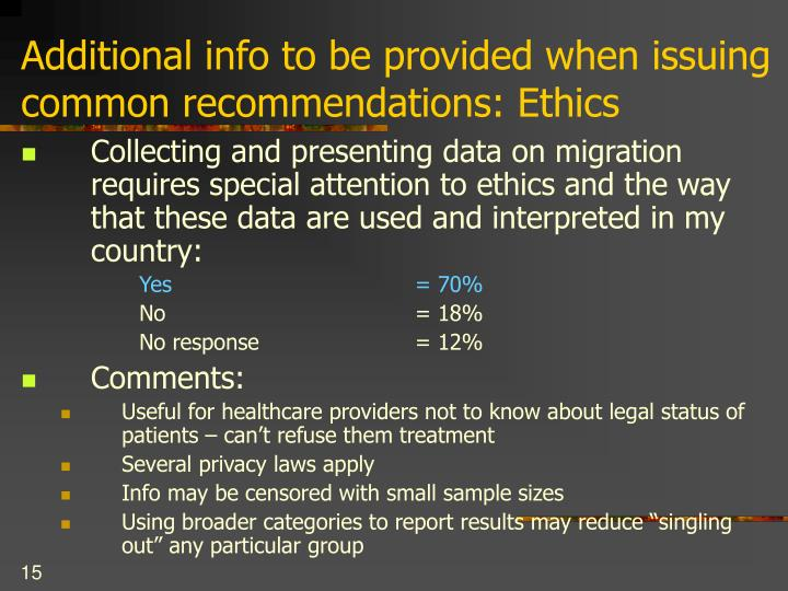 Additional info to be provided when issuing common recommendations: Ethics