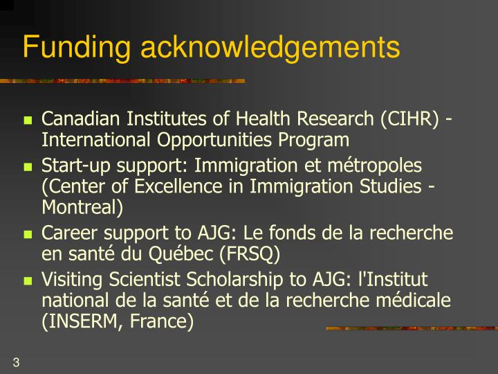 Funding acknowledgements