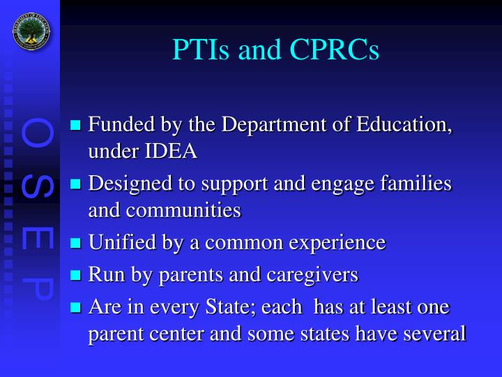 PTIs and CPRCs