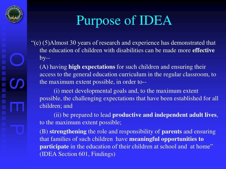 Purpose of IDEA