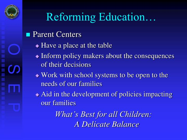 Reforming Education…