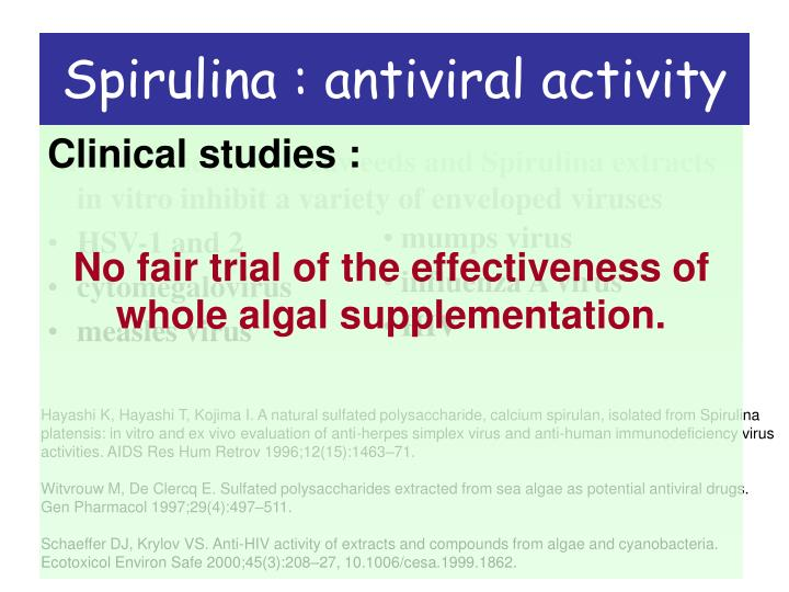 Spirulina : antiviral activity