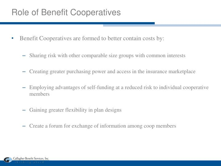 Role of Benefit Cooperatives