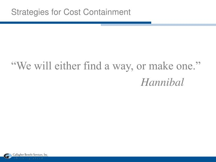 Strategies for Cost Containment