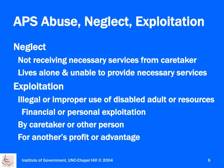 Neglect and adult protective services
