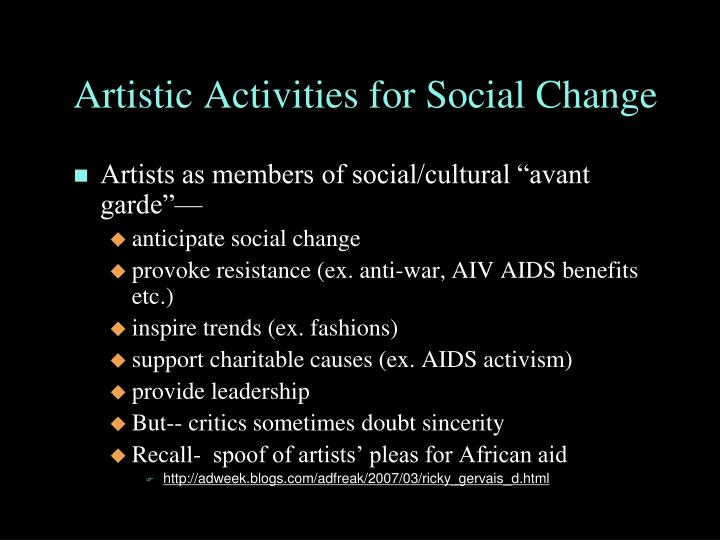 Artistic Activities for Social Change