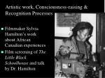 artistic work consciousness raising recognition processes