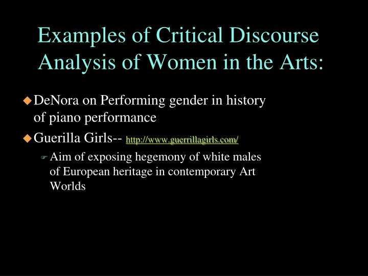 Examples of Critical Discourse Analysis of Women in the Arts: