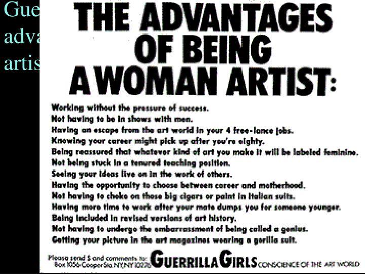Guerrilla Girls Poster– advantages of being a woman artist