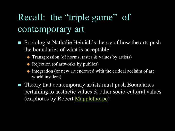 Recall:  the triple game  of contemporary art