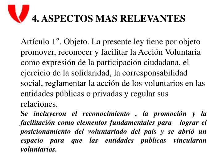 4. ASPECTOS MAS RELEVANTES