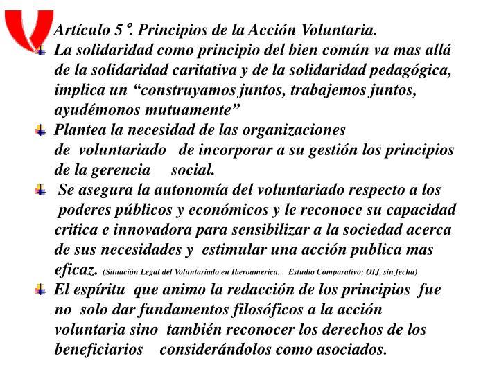 Artículo 5°. Principios de la Acción Voluntaria.