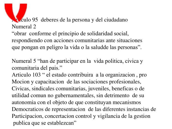 Articulo 95  deberes de la persona y del ciudadano