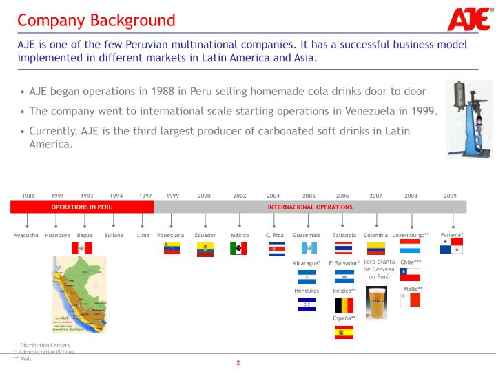 AJE began operations in 1988 in Peru selling homemade cola drinks door to door