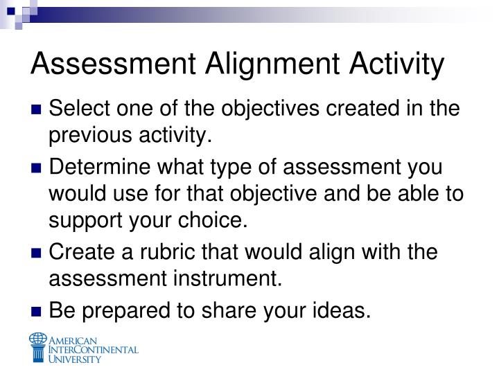 Assessment Alignment Activity