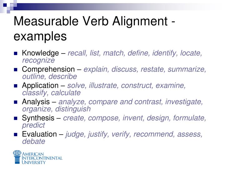 Measurable Verb Alignment - examples