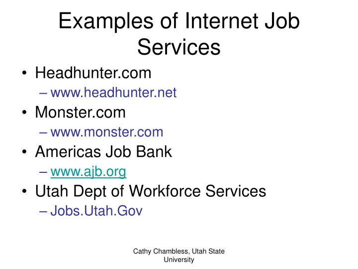Examples of Internet Job Services