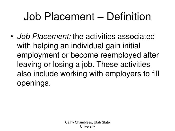 Job placement definition